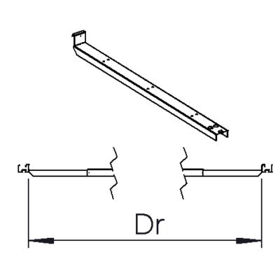 Justerbart ändfäste mellan skenor Dr= 3000mm-3600mm (2370mm); 2200mm-2400mm (1200mm)