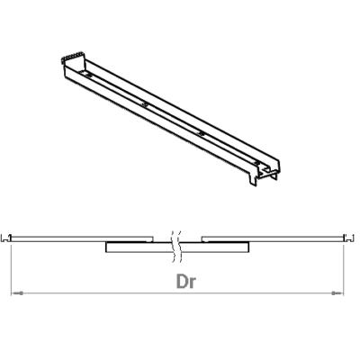 Justerbart ändfäste mellan skenor Phi 2312 Dr=2,9-3,7m eller 3,7-4,5m